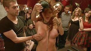 bdsm big tits blindfolded brunette collar