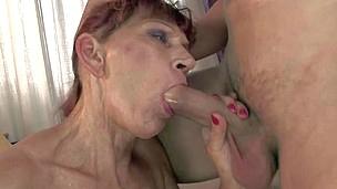 blonde blowjob bra granny hd