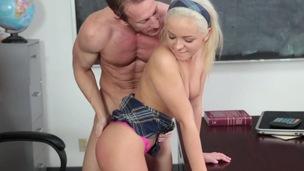 ass babe blonde blowjob classroom