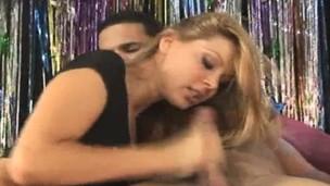 babe blonde blowjob handjob job